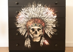 UPCYCLED VINTAGE AVALON 5 Drawer Chest With Boho Native American Skull Decoupage