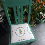 Painted Oak Upright Chair Owl Motif Seat cover