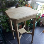 Stripped welsh oak Art Deco occasional table 48cm square and 80 cm high